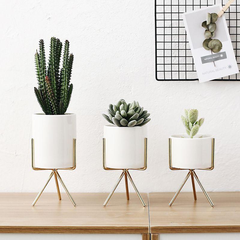 Set of 3pcs Ceramic Flower Planters with Iron Shelf Succulent Plant Pot Home Decorative Flower Vase without Hole