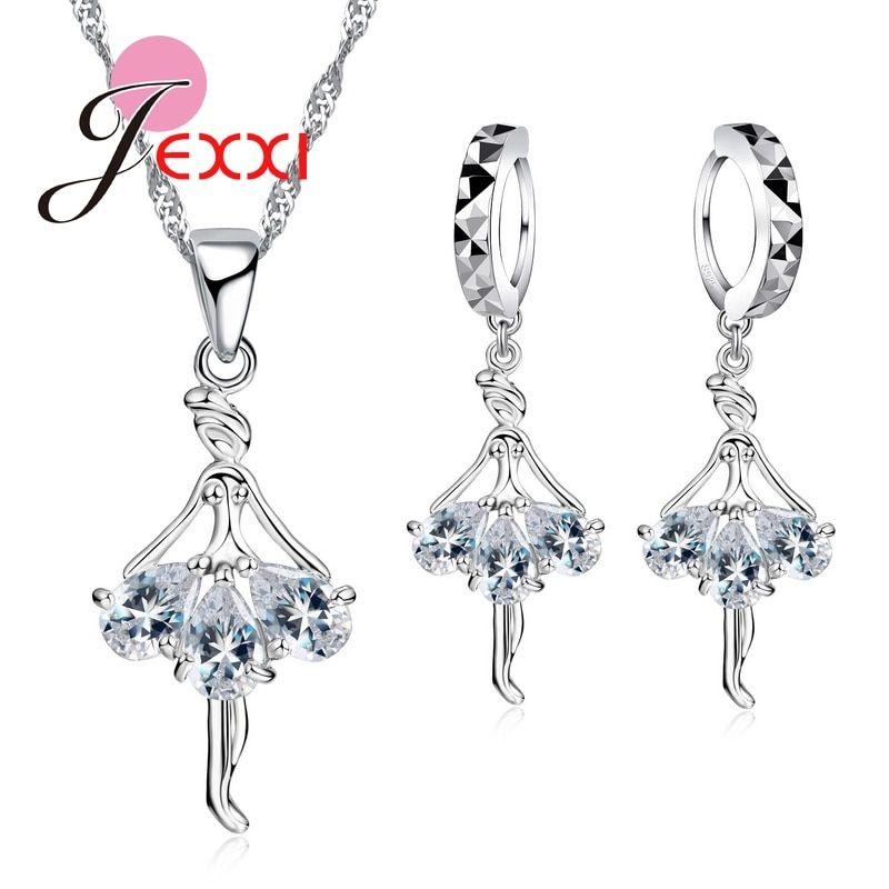 Elegant 925 Sterling Silver Ballerina Necklace Earrings Set With Shiny Crystal Women Girls Wedding Engagement Jewelry Set