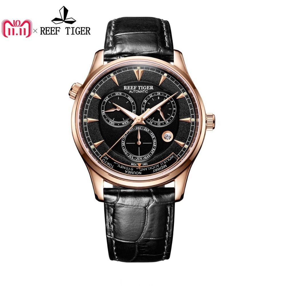 Riff Tiger/RT Designer herren Uhr mit Welt Zeit Datum Rose Gold Automatische Uhr RGA1951