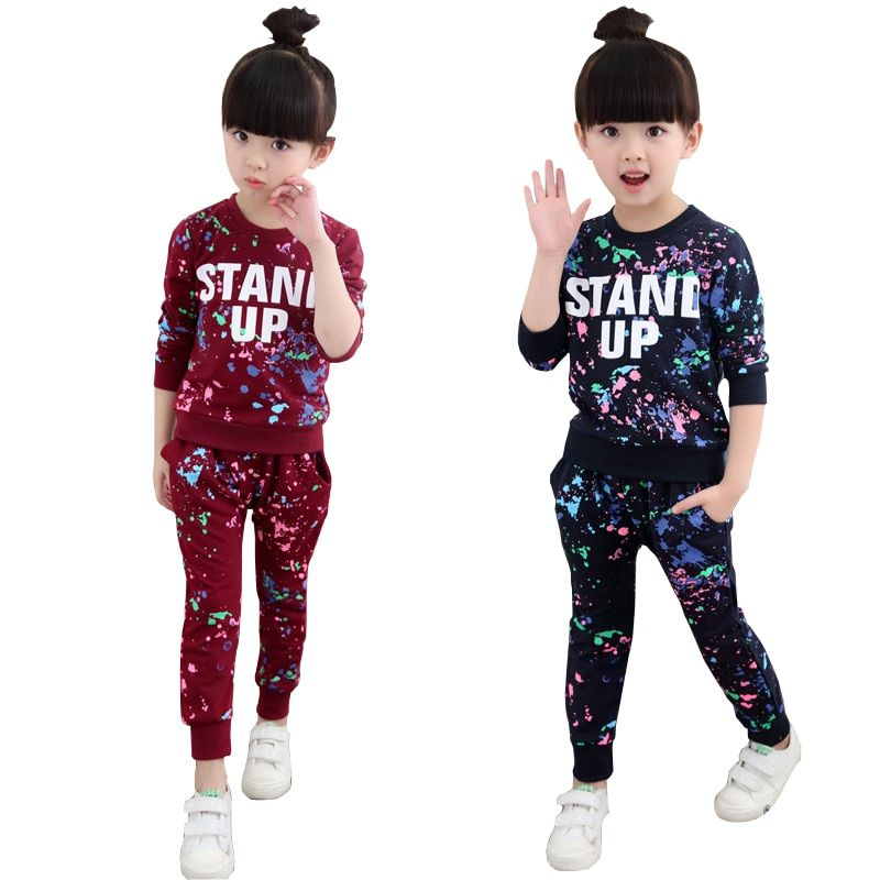 Girls Tracksuits 100% Cotton Spring Sportswear Outfits Girls Sports Suits <font><b>Graffiti</b></font> Letter Clothing Sets For 5 6 8 10 12 14 Year