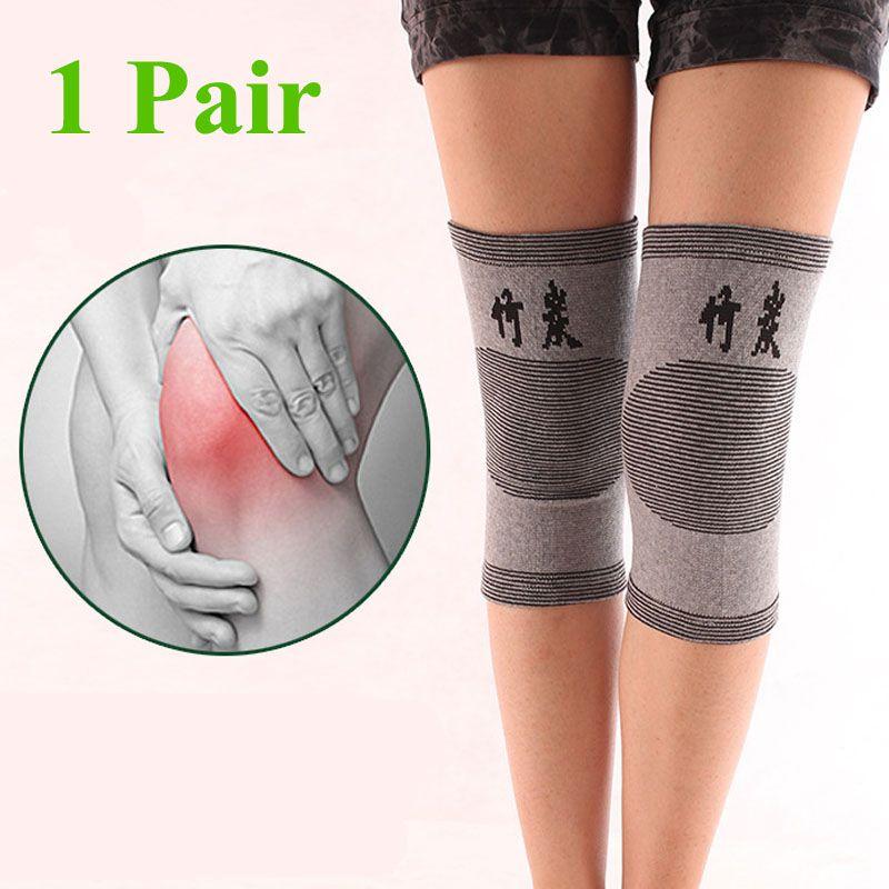 1 Para Knie Warme Unterstützung Klammer Bein Arthritis Verletzungen Gym Hülse Elastische Bandage knie Pad Holzkohle Gestrickte Ellbogen knieschoner