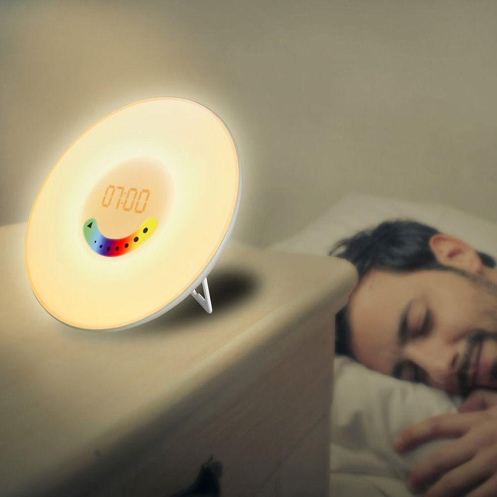 US EU Plug Colorful Bedroom Wake Up Digital Alarm Clock Novelty RGB LED Sunrise Simulation Alarm Clock Light Lamp FM Radio