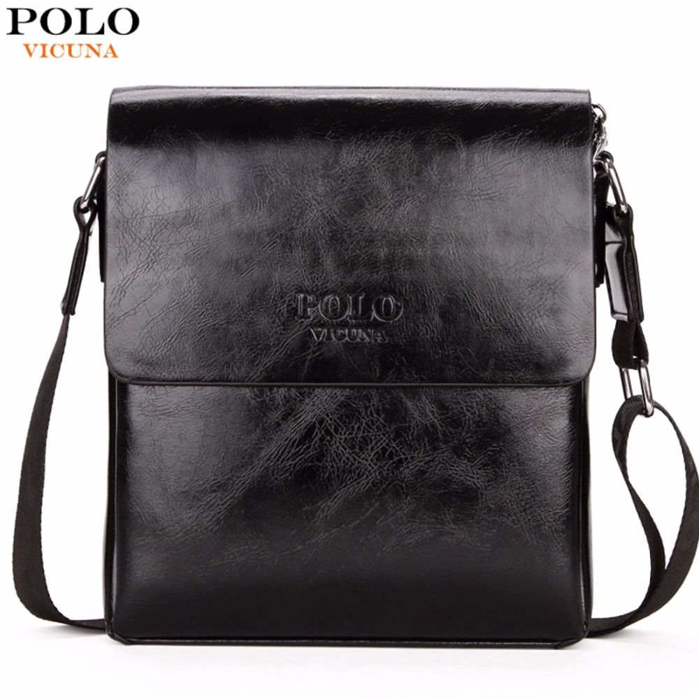 VICUNA POLO High Quality Waxy PU Leather Mens Messenger Bags Famous Brand Casual Business Man Bag Men Shoulder Bag Crossbody Bag