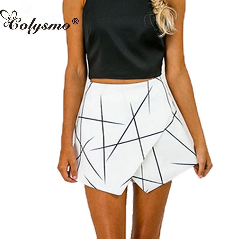 SH89 Frauen Weiß Sexy Wrap Origami Asymmetrische Abgewinkelt Saum Geometrischen Print Shorts Für Sommer Neue 2016 Größe S-XL