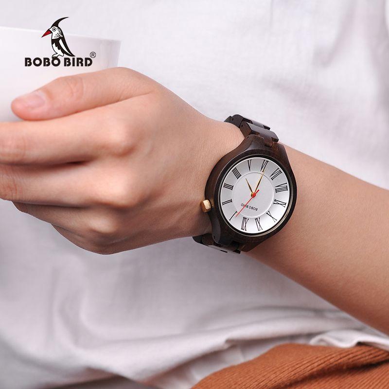 BOBO BIRD Q11 Simple Wooden Watches for Women Classic Black Ladies Quartz Dress Watch in Wooden Box