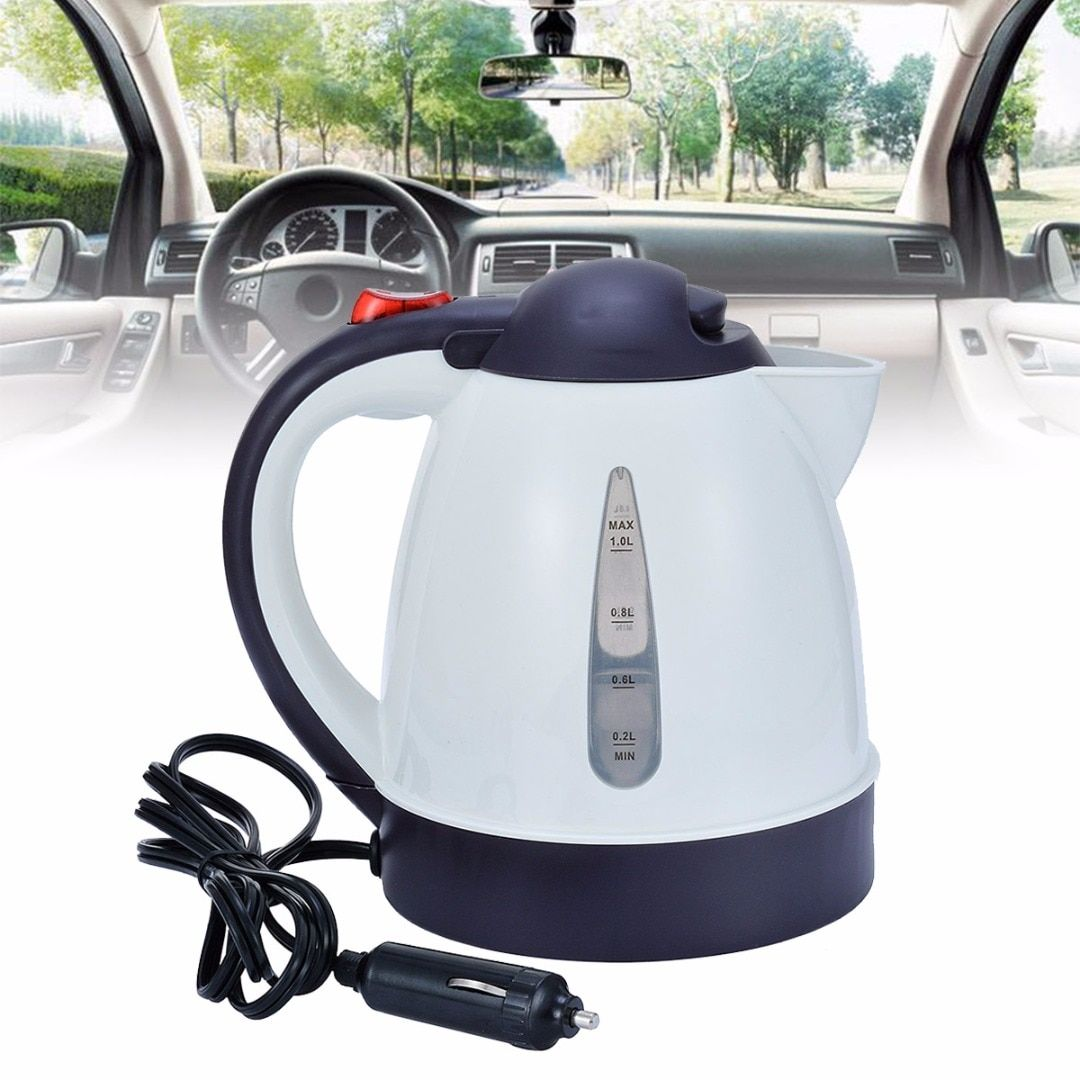 High-Grade1000ml Car Portable Water Heater Travel Mains Kettle Auto 12V for Tea Coffee Water Electric Heater Travel Kettle Kit