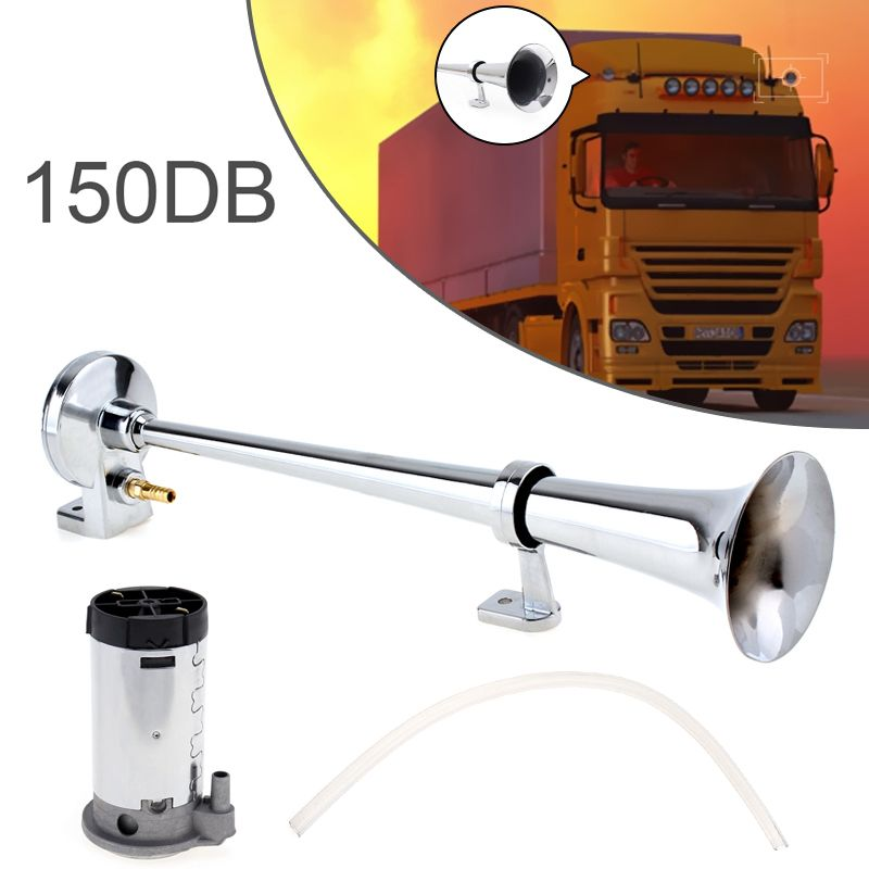 17 Inch 150DB Super Loud Single Trumpet Car Air Horn Compressor Kit 12V / 24V for Auto Truck Boats Motorcycle Vehicle