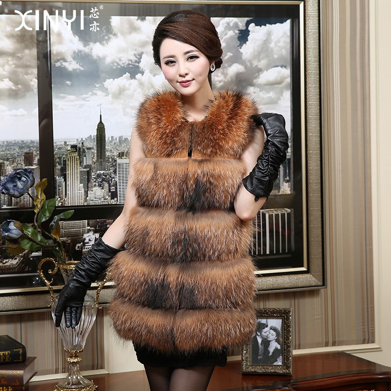 2017 Luxury Genuine Raccoon Fur Vest Waistcoat Winter Women Fur Medium-long Outerwear Coats Lady Gilet 0731