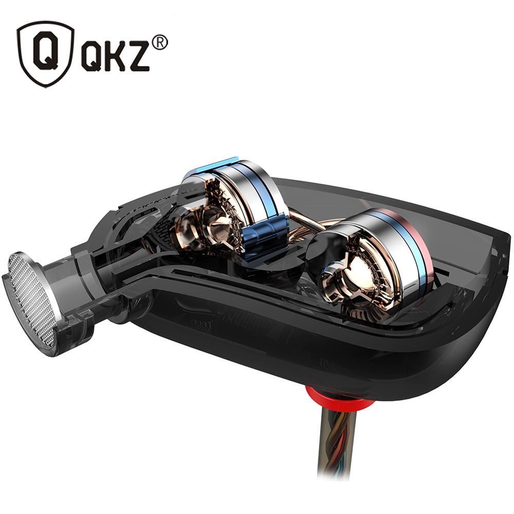 QKZ ZN1 Earphones Mini Dual Driver Extra <font><b>Bass</b></font> Turbo Wide Sound gaming headset mp3 DJ Field Headset fone de ouvido auriculares