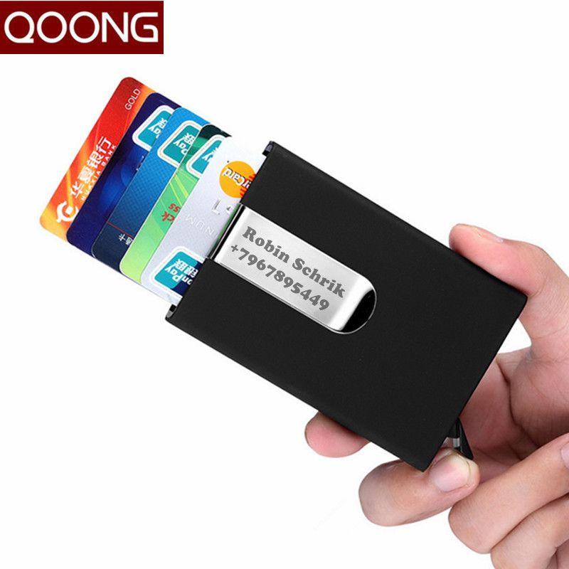 QOONG Porte-Cartes Voyage Automatique Pop Up ID Carte de Crédit titulaire Hommes Femmes Cas de Carte de Visite En Acier Inoxydable Clip En Métal 1-005