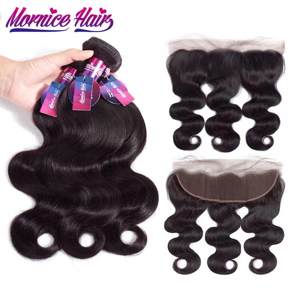 Mornice Brazilian Body Wave Hair 3 Bundles With Lace Frontal Human Hair Bundles With Frontal Natural Color Non Remy Hair Bundles