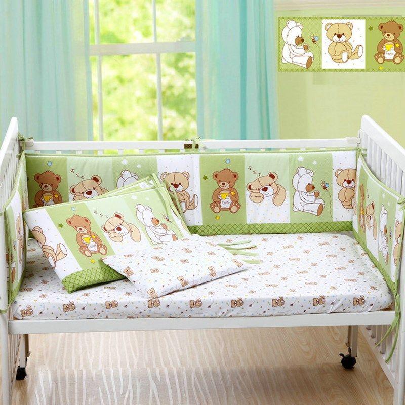 Mignon de Bande Dessinée Coton Bébé Pare-chocs Lit Tour de Lit pour Lit Bébé Protecteur de Bébé Berceaux pour Les Nouveau-nés Literie Pare-chocs 4 pcs/ensemble