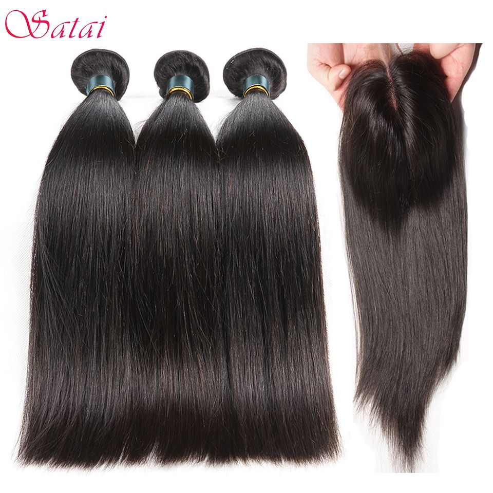 Satai Brazilian Straight Hair Human Hair Bundles With Closure Middle Part 3 Bundles with Closure Non Remy Hair Extension