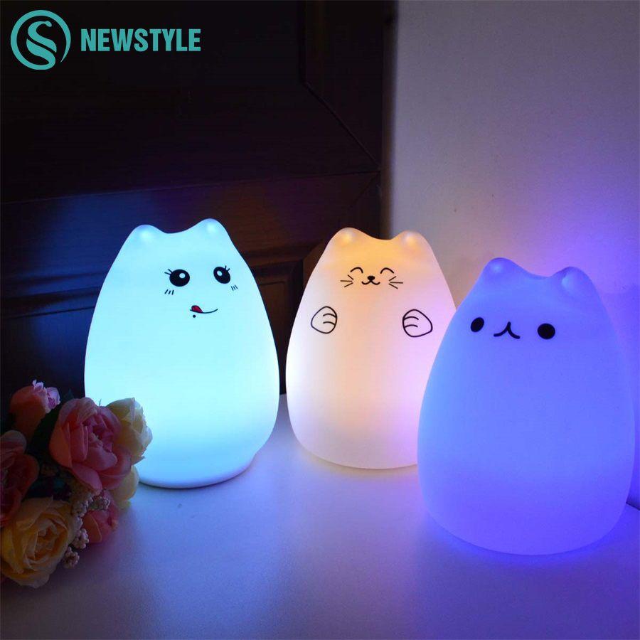 Silicone tactile capteur LED veilleuse pour enfants bébé enfants 7 couleurs 2 modes chat LED USB LED veilleuse
