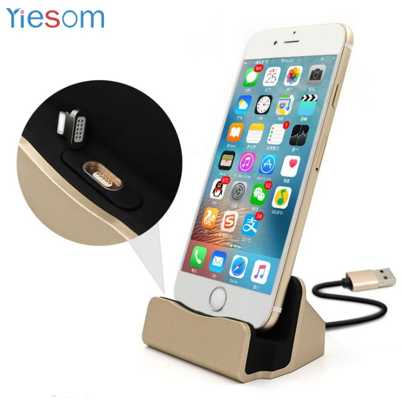 YIESOME 3 in 1 Sync Data Charging Magnetic Charger USB Cable Dock Station Desktop Docking for iPhone X 8 Plus 7 6S SE 5S 5 iPod