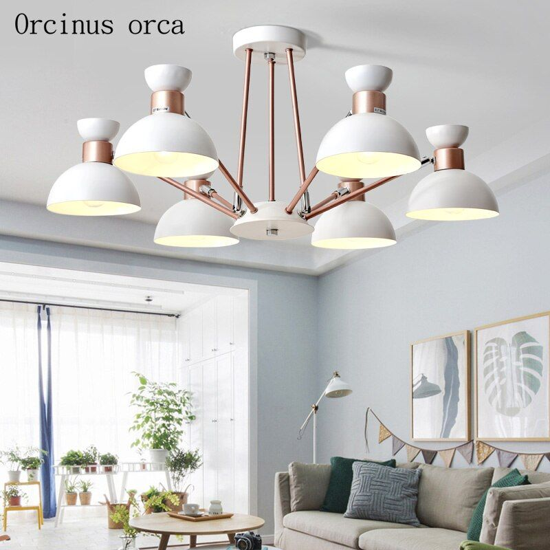Nordic modern minimalist iron Chandelier living room bedroom creative personality candy color matching spider chandelier