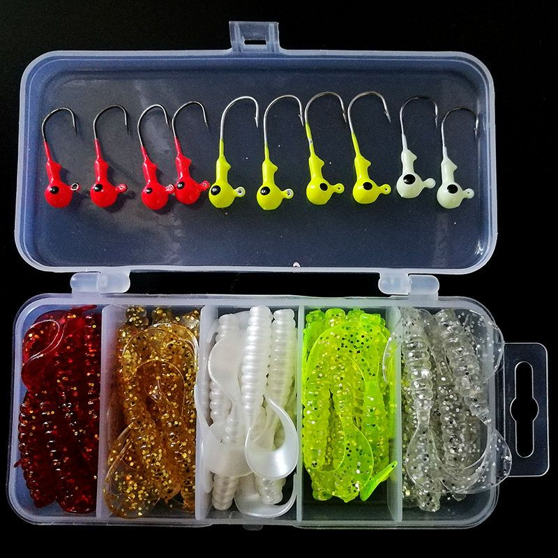 50 pcs Doux Leurres 10 pcs Plomb Crochets Ensemble Boîte Classique Flexible Swimbaits Appâts Artificiels Silicone Leurre De Pêche Leurres de Pêche