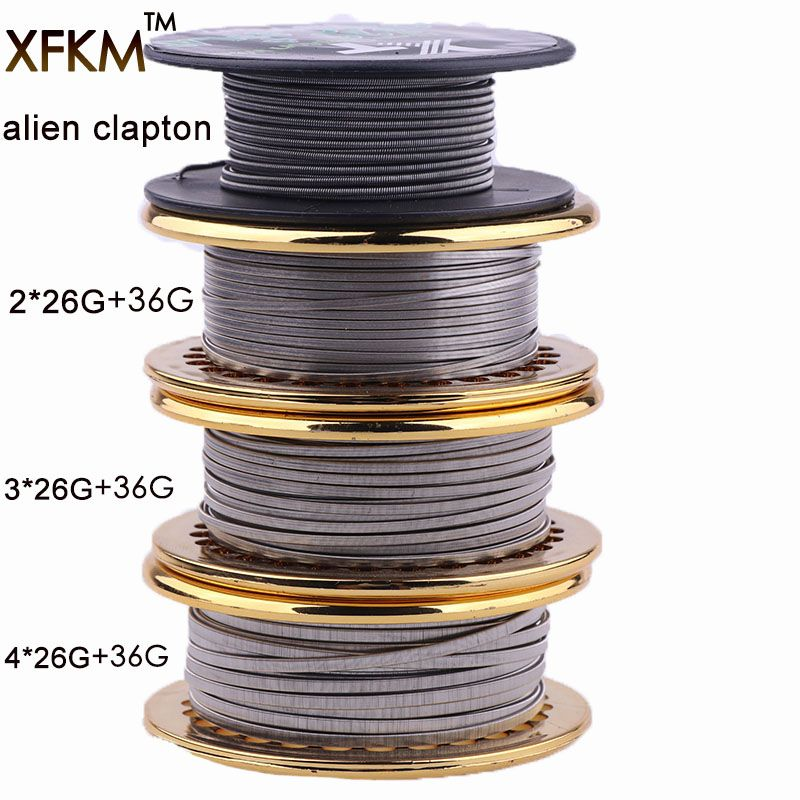 XFKM Hot 5m/roll NEW Fused Clapton for RDA RBA Rebuildable Atomizer Heating Wires Coil Alien Clapton Heating Wire A1 SS316 NI80