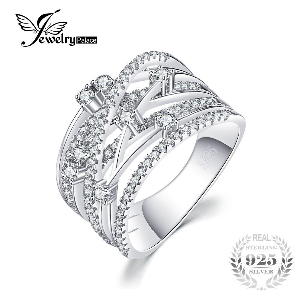 JewelryPalace Banda Ancha de Lujo Ronda Anillo de Cóctel Para Las Mujeres Genuinas Plata de Ley 925 Joyas de Regalo de Boda