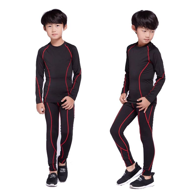 2017 winter for boy rash guard kit  boy Long Sleeve T-Shirt + trousers MMA Compressed Clothing thermal underwear  XS-L