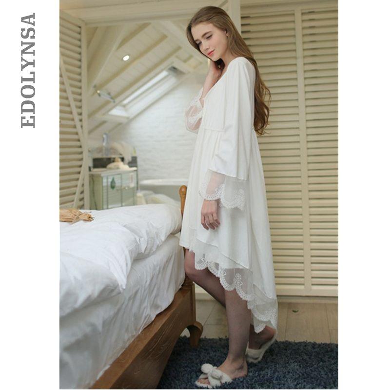 2018 Women Bathrobe Bridesmaid Robes Soft Cotton White Princess Sexy Short Kimono Robe Home Dressing Gown Wedding Robes #P111