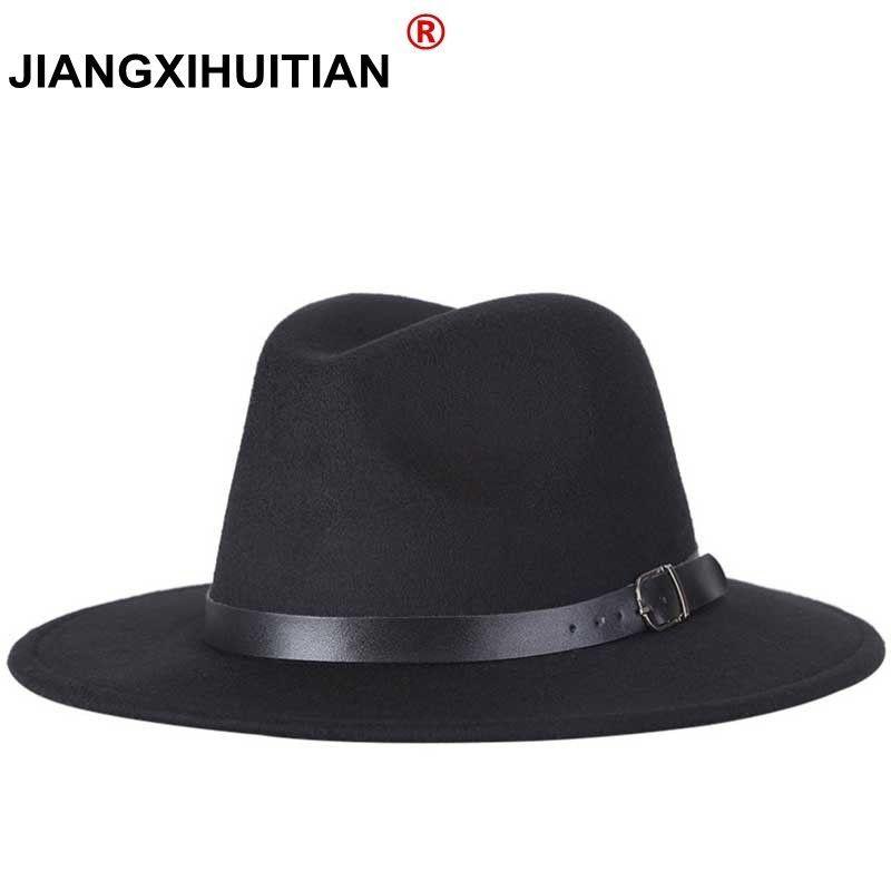 Livraison gratuite 2019 nouveau mode hommes fedoras femmes mode jazz chapeau été printemps noir laine mélange chapeau extérieur chapeau décontracté