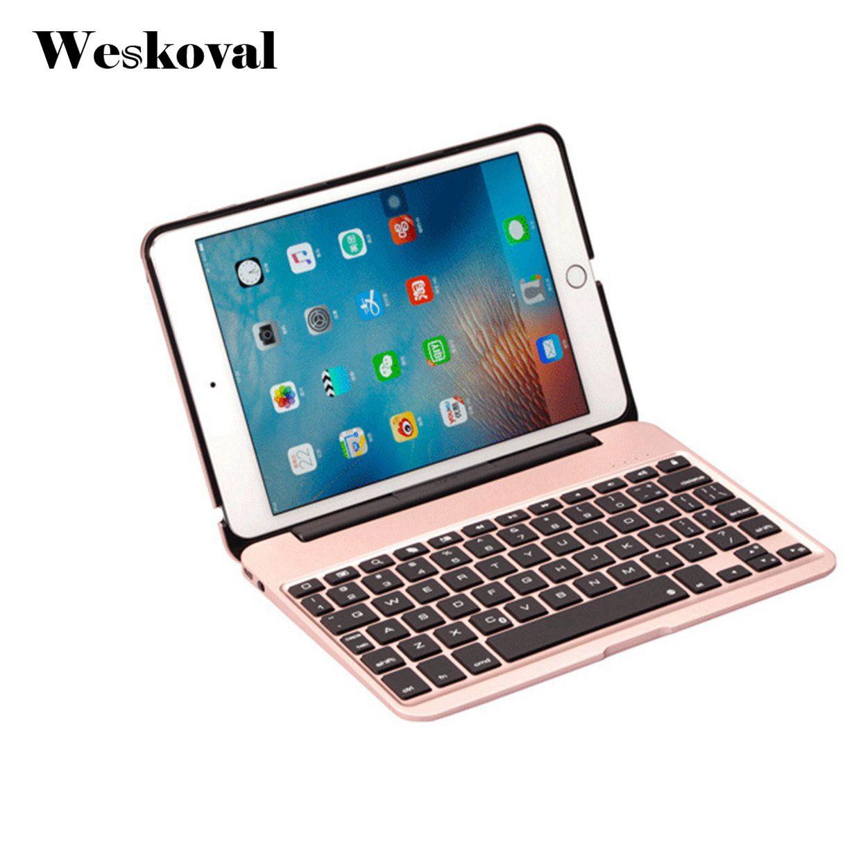 Für iPad Mini 4 Drahtlose Bluetooth Tastatur-kasten Für iPad Mini 4 7,9 zoll Tablet Aluminiumlegierung Standplatz-abdeckung Flip Capa + Stylus