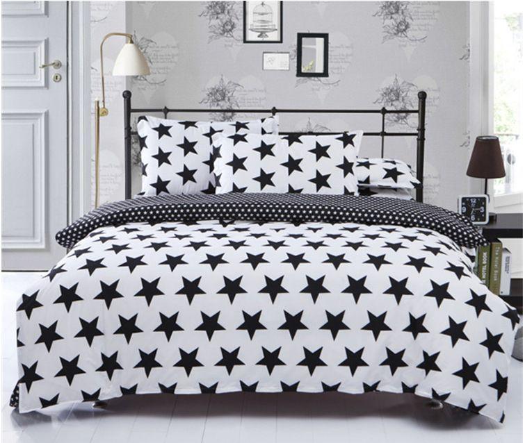4 pc noir et blanc étoiles grille beddingset couette feuille de couverture taie d'oreiller