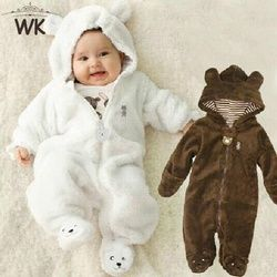 Winter Kind Strumpfhosen Bär stil kinder korallen fleece Hoodies overalls neugeborenen baby sliders neugeborenen toddle kleidung JP-133