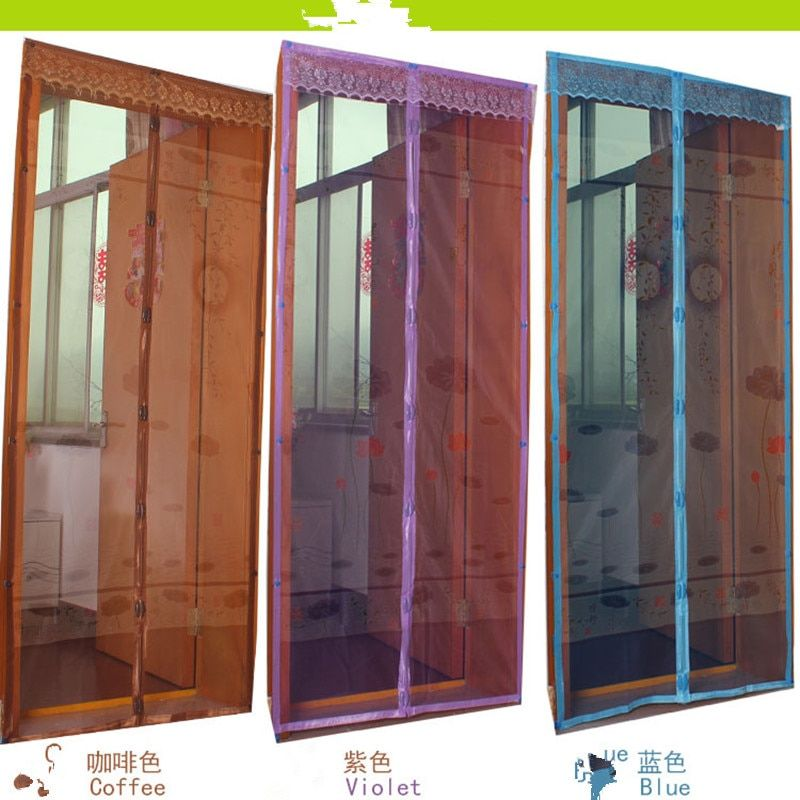 Lifeng home 2017 new Anti Mosquito Magic Curtains Summer Door Screen Mesh Lotus printing Magic door curtaion Bug mesh gauze Net
