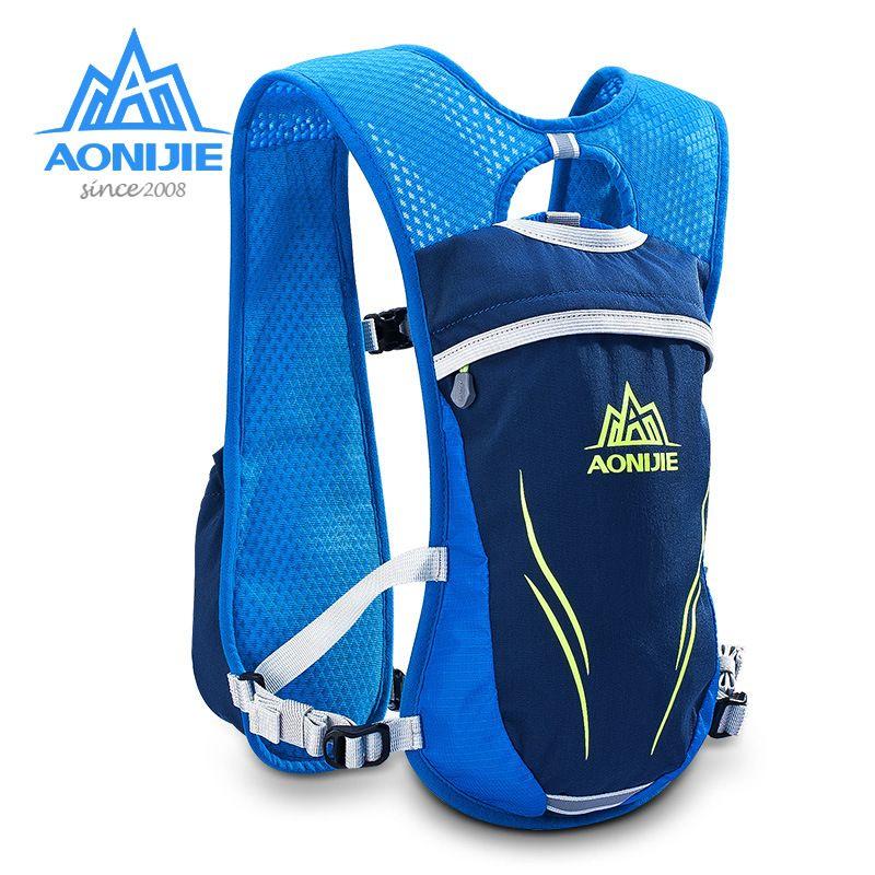 Aonijie 5.5l course à pied sac avec 2 pc 250 ml bouteilles en plein air vélo sac à dos sac à dos équitation vélo randonnée camping sac à dos