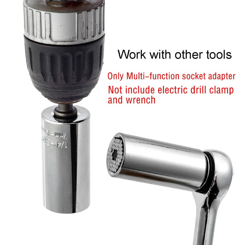 Multi-Function ETC-120A Universal Adjustable Torque Ratchet Socket Wrench Set Power Drill Adapter Grip Hand Tool 7-19mm