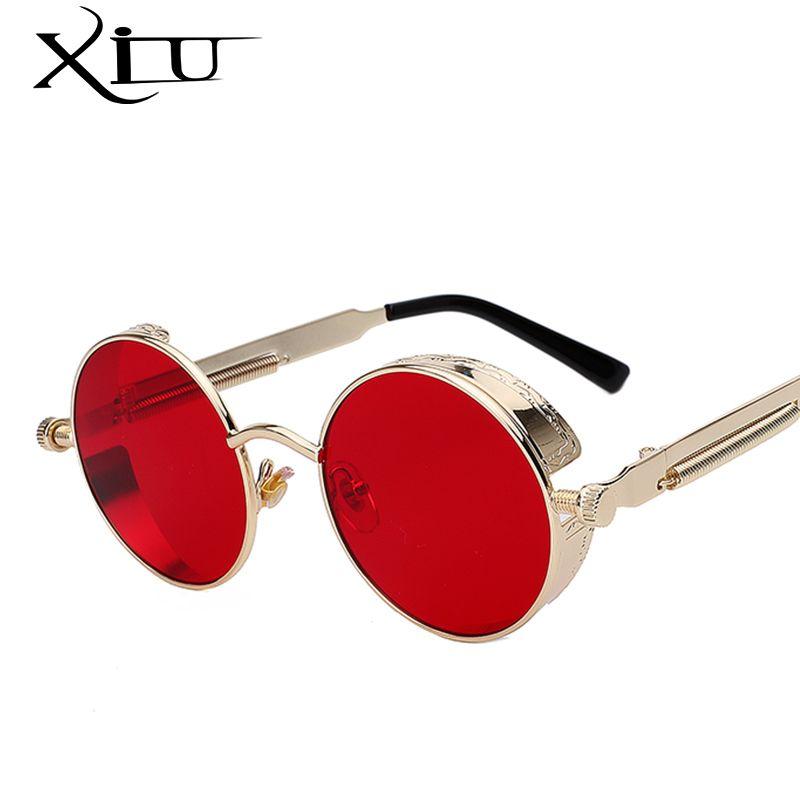 Ronde En Métal lunettes de Soleil Steampunk homme femme Mode Lunettes Marque Designer Rétro lunettes de soleil vintage UV400
