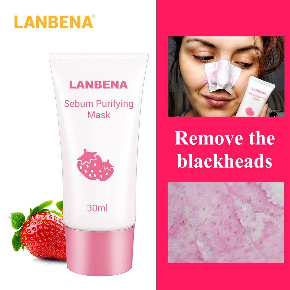 LANBENA Strawberry Blackhead Remover Nose Mask Mud Pore Strip Black Mask Peel off Mask Acne Treatment Nose Peel Mask Skin Care