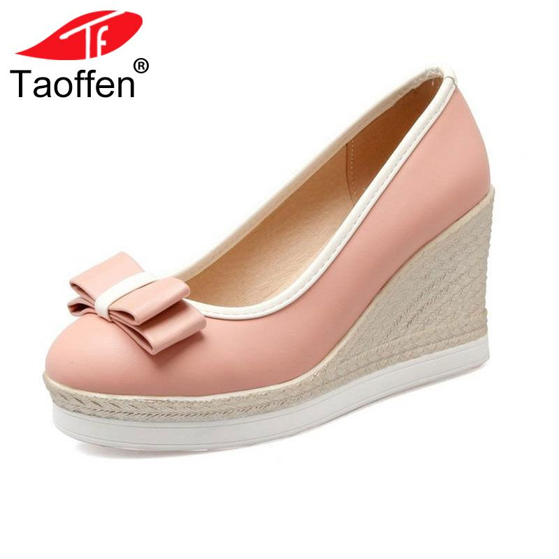 TAOFFEN Classic Brand Women Wedges High Heels Platform Round Toe Pumps Women Girls Bowtie Slip-on Zapatos Mujer Shoes Size 33-43
