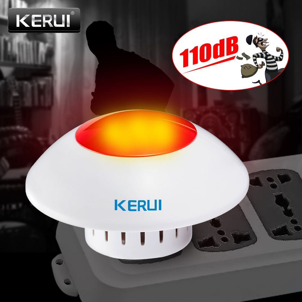 KERUI Fort Sirène Intérieure Sans Fil Clignotant Sirène D'alarme Corne Rouge Lumière Stroboscopique Sirène Pour GSM Maison et D'affaires D'alarme de Sécurité