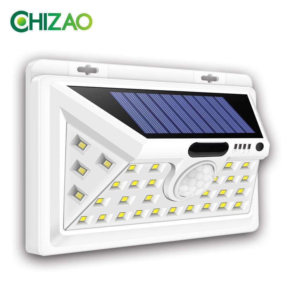 CHIZAO lampes solaires extérieur capteur de mouvement nuit sécurité applique murale 16 20 34 LED étanche économie d'énergie jardin avant porte cour