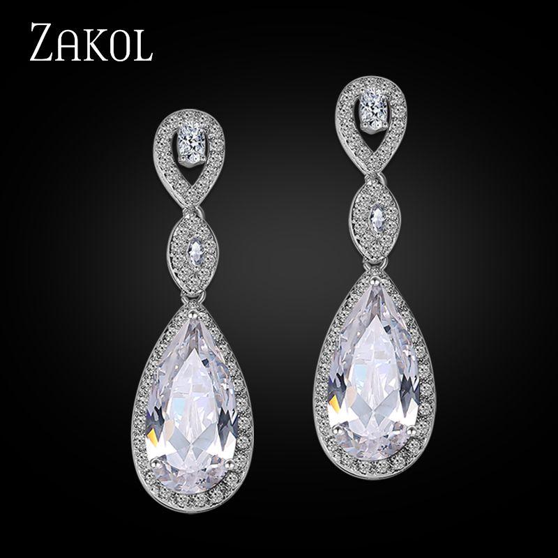 Boucles d'oreilles pendantes longues de luxe ZAKOL pour femmes élégantes bijoux de mariage AAA + goutte d'eau Zircon cubique boucles d'oreilles de mariée FSEP029