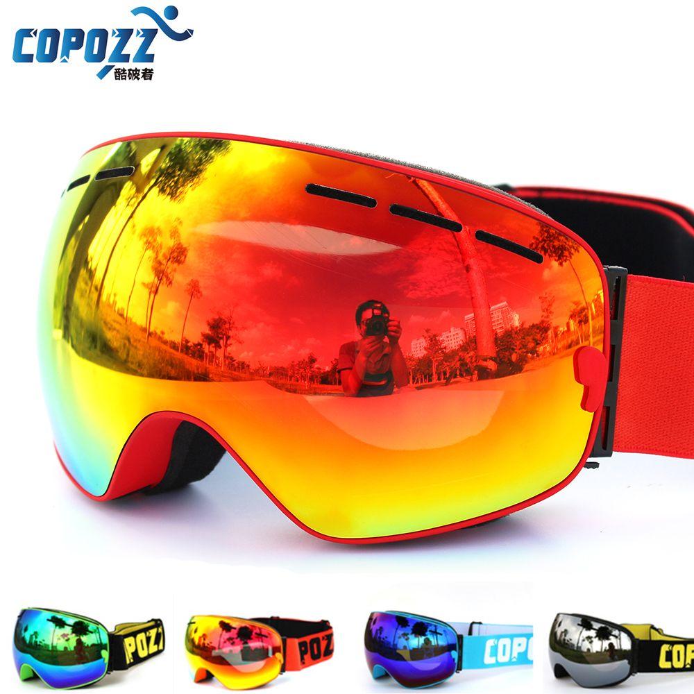 COPOZZ marca UV400 gafas de esquí doble capa anti-vaho grande máscara de esquí gafas de snowboard gafas de esquí hombres mujeres nieve GOG-201 Pro