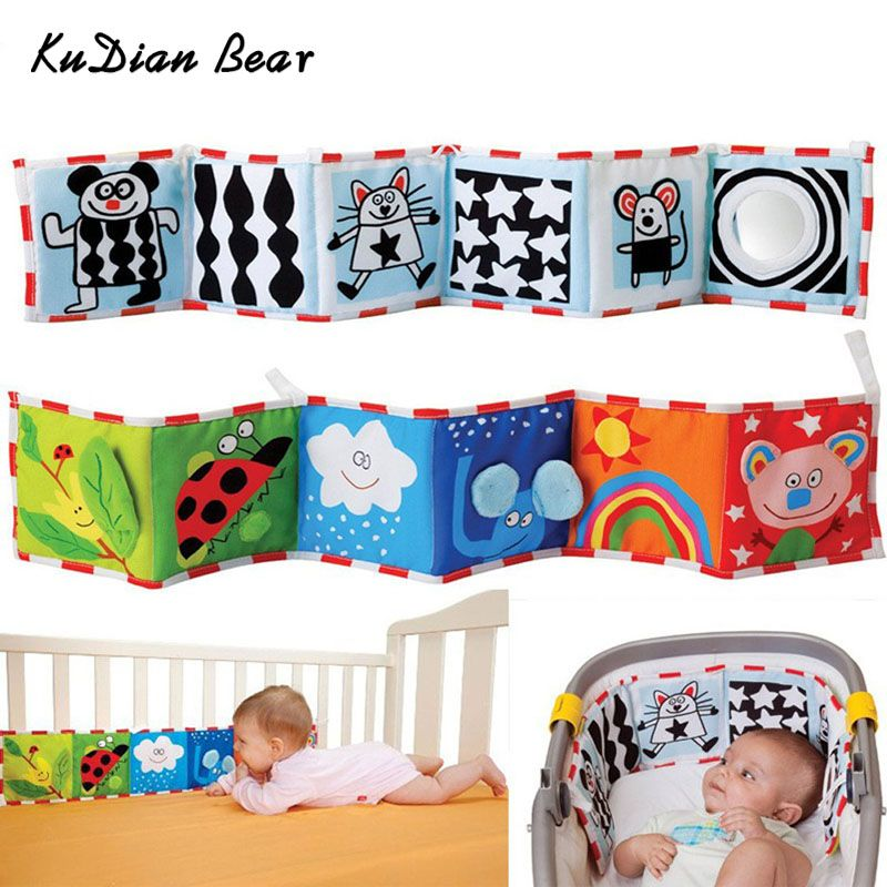 KUDIAN BEAR Colorful Patterns Baby Mobile Cloth Book Crib Bed Around Soft Plush Early Educational Cot Baby Toys BYC072 PT49