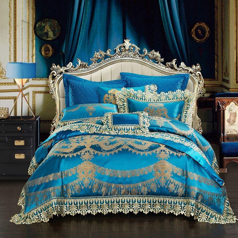 4/6/10Pcs Lace Blue Oriental Luxury Duvet cover set Wedding Royal queen king size Bedding set Bed sheet/spread set Pillowcases