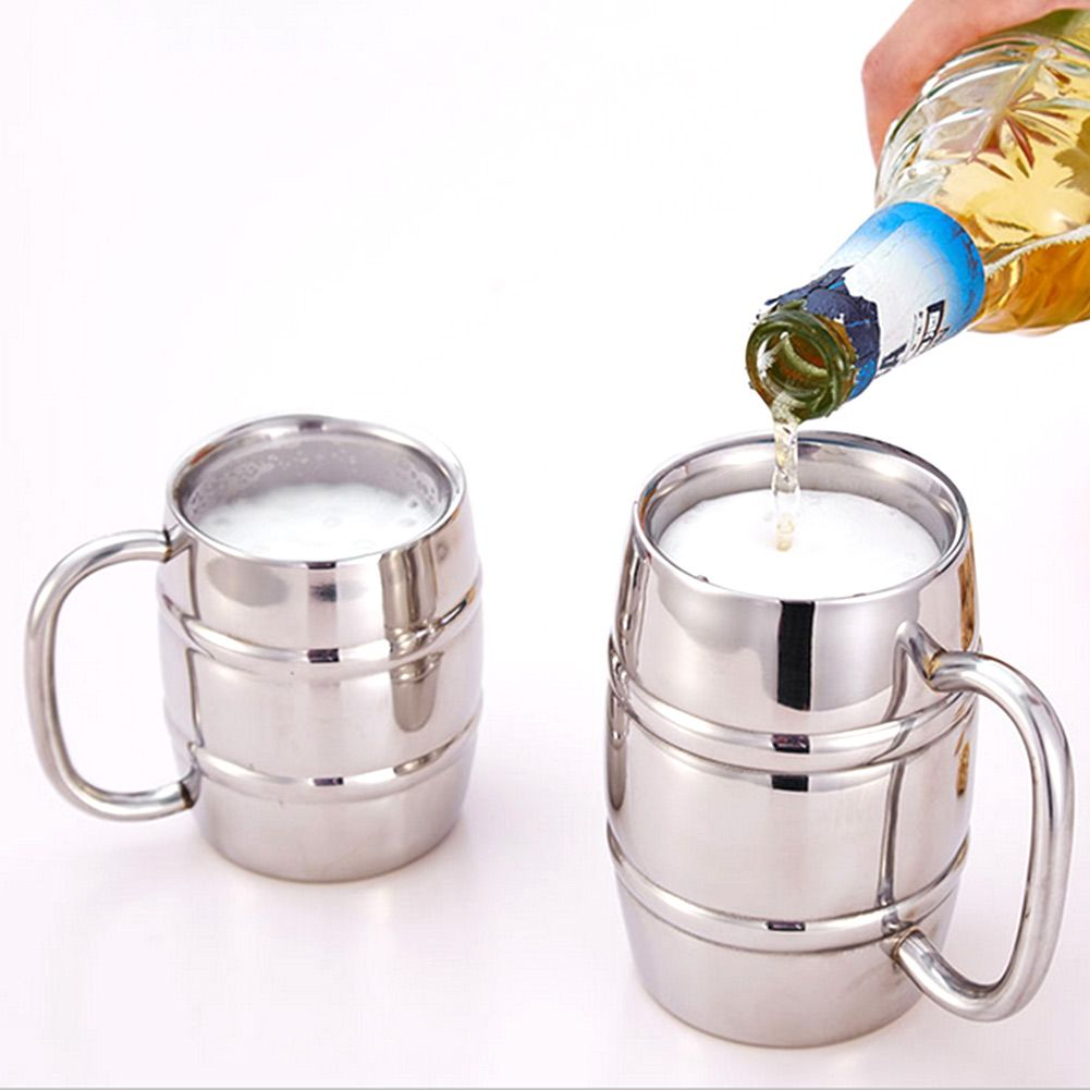420 ML En Acier Inoxydable À Double Paroi Tasse de Bière Vodka Tasses Bambou Baril Thé Café Tasses Voyage Tumbler Camping Verres