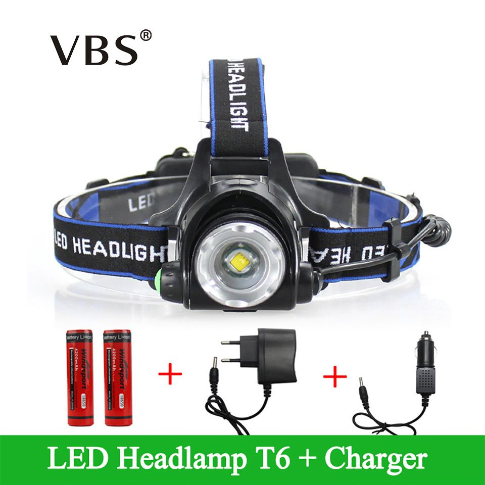 LED Headlight Cree XML-T6 Headlamp Waterproof Rechargeable 2000LM Faro +2*18650+Charger Adjustable Head lamp 3 Modes Linternas