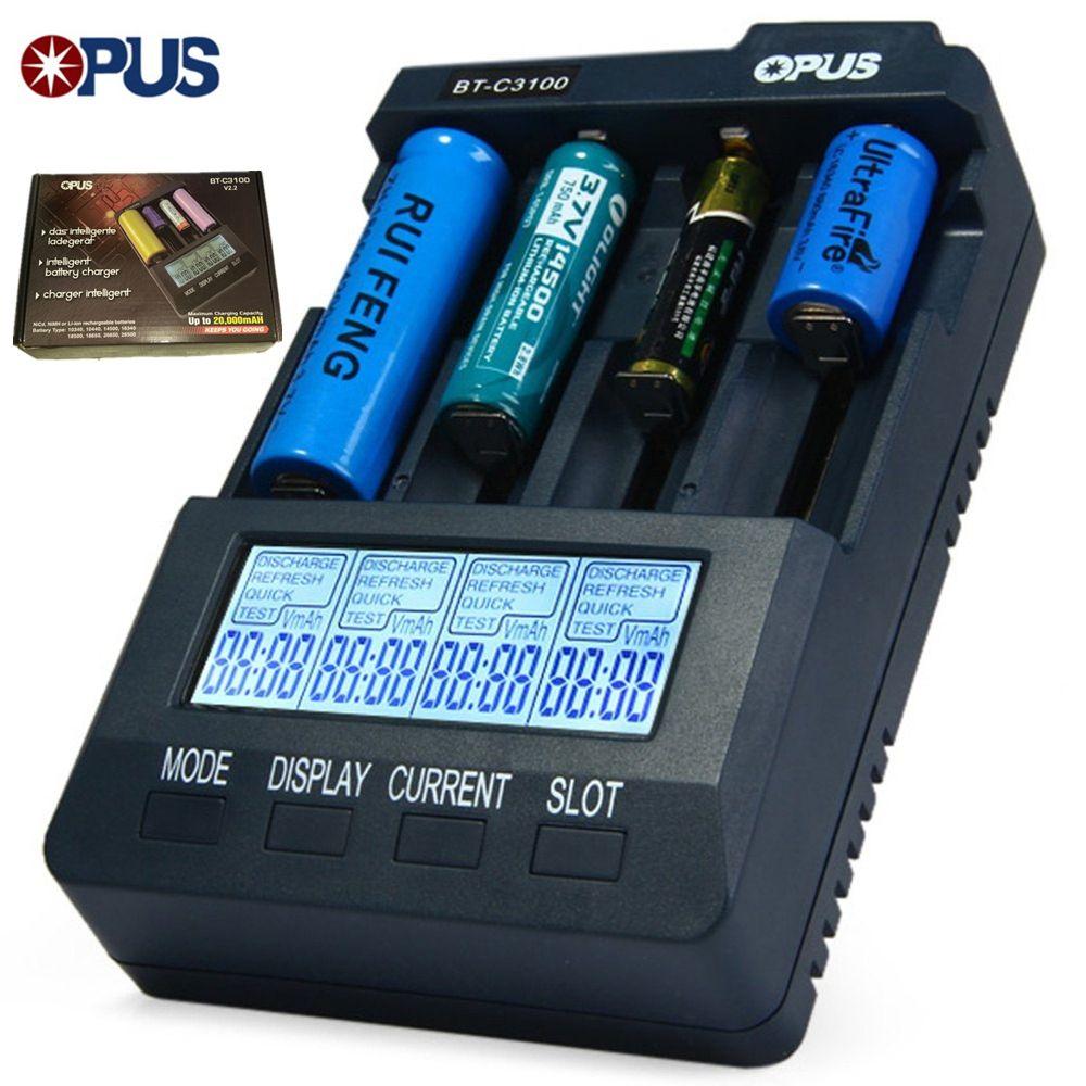 Opus BT C3100 Intelligente Digitale Intelligente 4 Slots LCD Batterie ladegerät kompatibel li-ionen-nicd nimh aa aaa 10440 18650 batterie neue