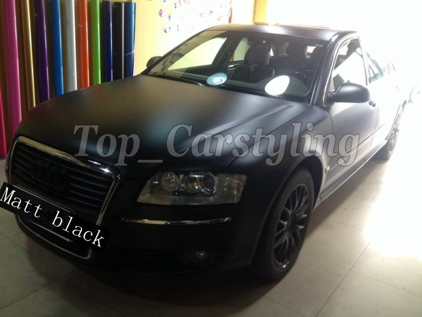 Satin Black Vinyl Car Wrap Film With Air release For Vehicle Wrapping Covering Automotive graphics 1.52x20m/Roll /5ftx67ft