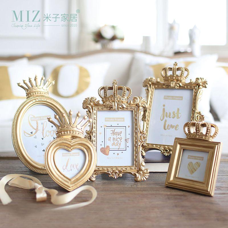 Zim Maison 1 Pièce 5 Modèle De Luxe Baroque Style Or Couronne décor Creative Résine Photo De Bureau Cadre Photo Cadre Cadeau pour Ami