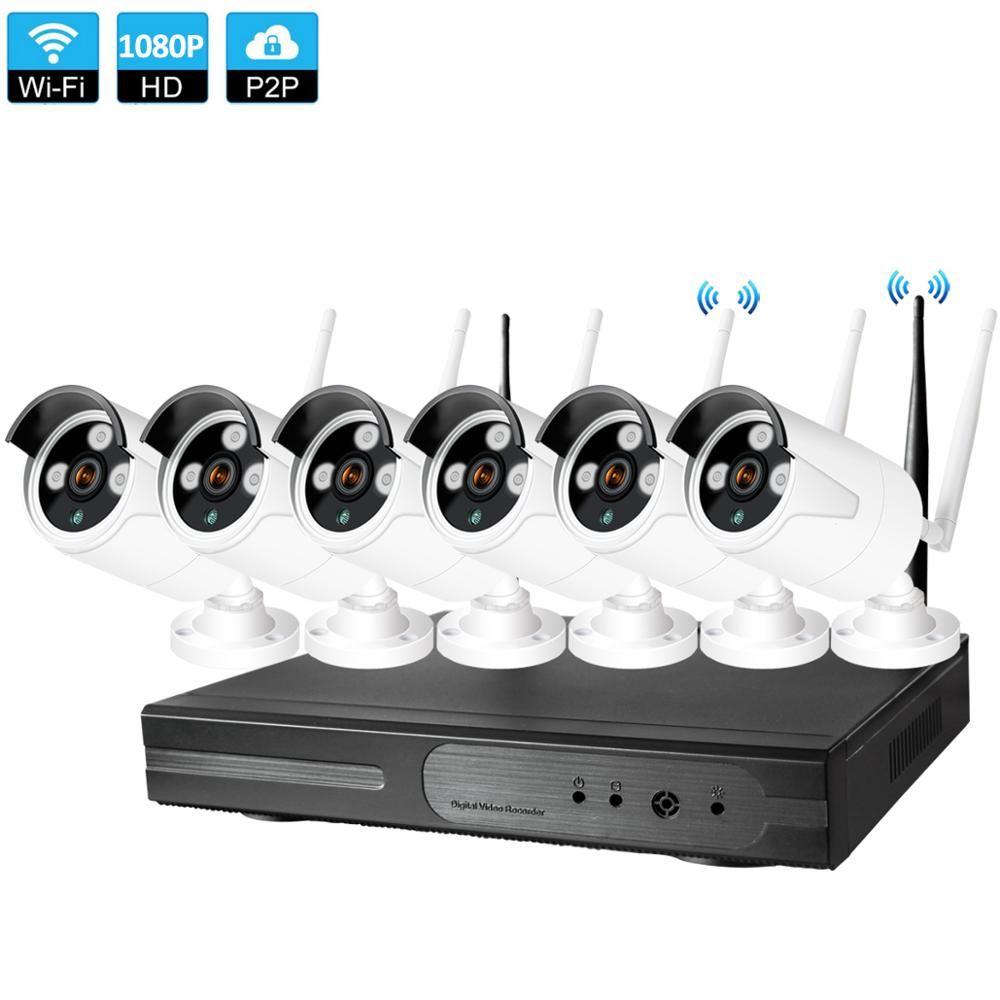Stecker und Spielen 6CH 1080 P HD Wireless NVR Kit P2P 1080 P Indoor Outdoor IR Nachtsicht Sicherheit 2.0MP IP Kamera WIFI CCTV System
