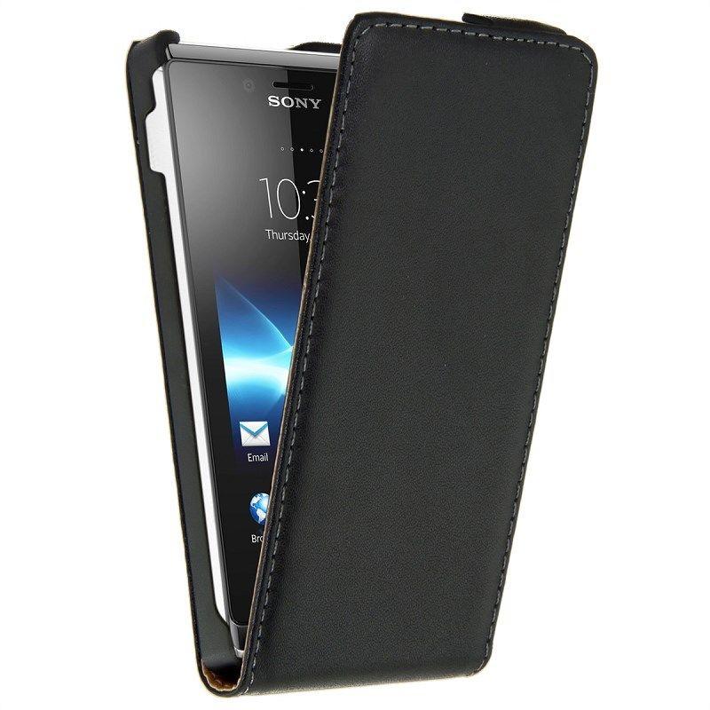 Luxe Vertical Flip Magnétique Véritable Étui En Cuir pour Sony Xperia J st26i couverture