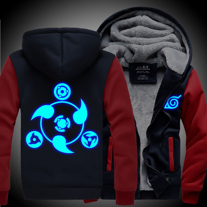 Новые зимние куртки Наруто балахон Куртки свет аниме с капюшоном на молнии Мужчины толщиной кардиган Шаринган