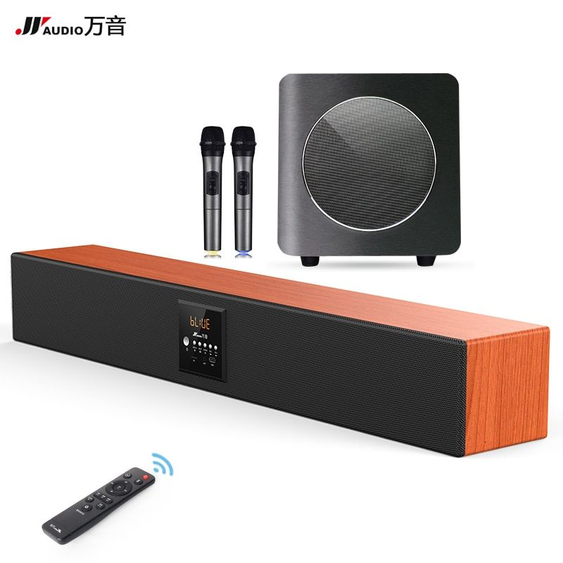 JY Audio 600k Bluetooth 5.1 Wooden Speaker Karaoke Speaker Home Cinema Audio Sound System Music Amplifier with Microphone for PC